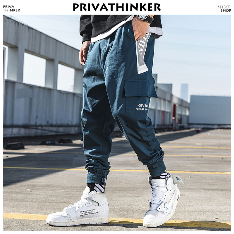 Privathinker Joggers Letter Print Ankel-Length Pants 2019 Mens Pockets Sweatpants Male Korean Fashions Pants Hiphop Track Pants