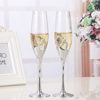 2 PCS Set Wedding Champagne Crystal Silver Plated Toasting Flutes Long Wine Glasses Cup Diamond Ring