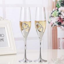 2 teile/satz Kristall Champagner Glas Hochzeit Toasten Flöten Trinken Tasse Party Ehe Wein Dekoration Tassen Für Parteien Geschenk Box