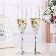 2 יח\סט קריסטל שמפניה זכוכית חתונת קליית חלילים לשתות כוס מסיבת נישואים יין קישוט כוסות למסיבות אריזת מתנה