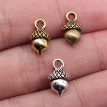 WYSIWYG 12pcs 13x7mm Charm Acorn 3 Colors 3D Acorn Charms 3D Pine Nuts Acorn Pendant Charms For Jewelry Making(China)