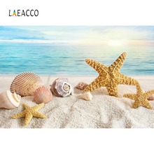Laeacco Tropical Summer Holiday Sea Beach Sand Shell Starfish Coral Baby Photo Background Photography Backdrop For Studio