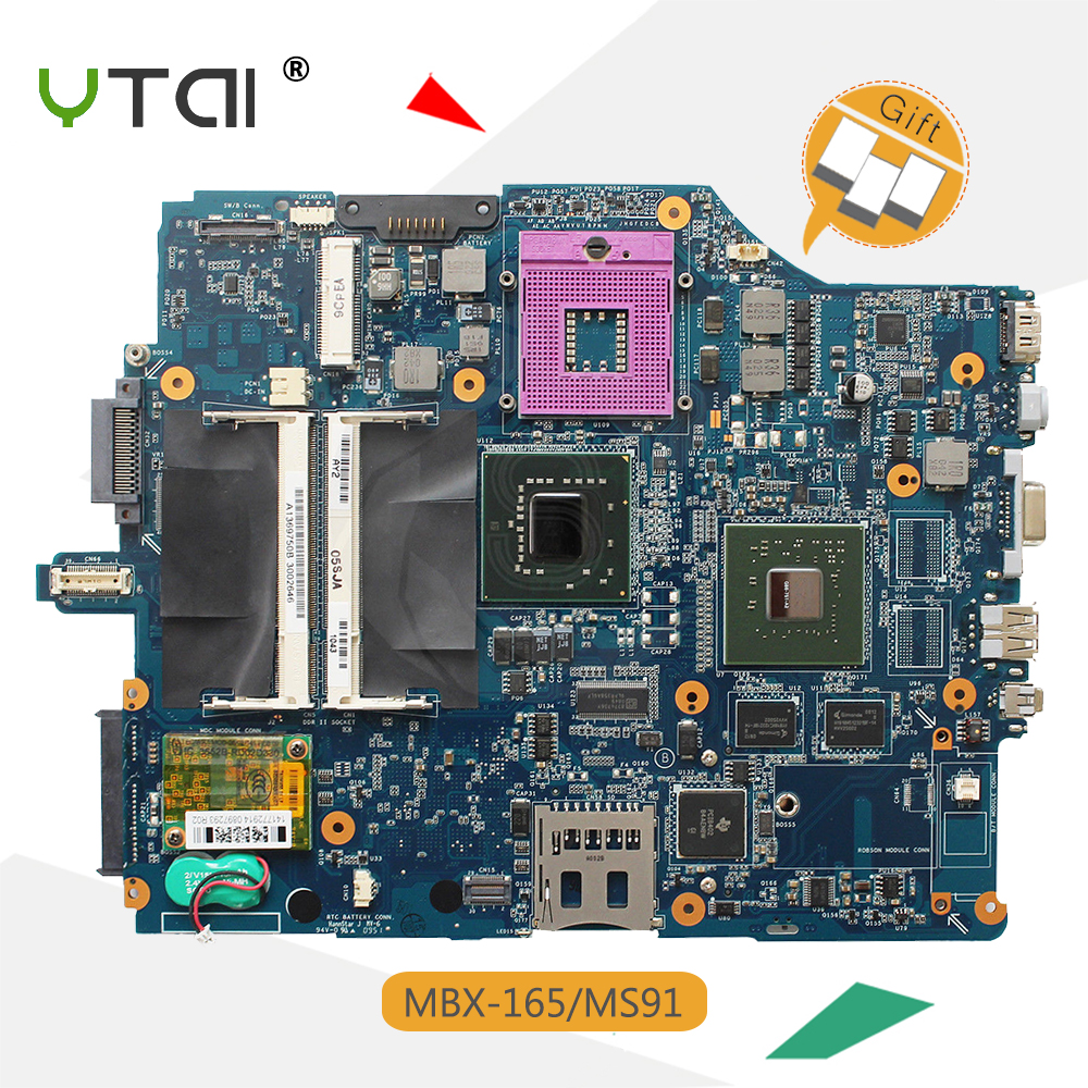 YTAI MBX-165 MS91 Mainboard for Sony VAIO VGN-FZ Series MBX-165 MS91 Laptop Motherboard REV:1.0 1P-0076500-8010 A1369750B M965 sheli mbx 165 laptop motherboard for sony mbx 165 ms91 a1369748b 1p 0076500 8010 for intel cpu with non integrated graphics card