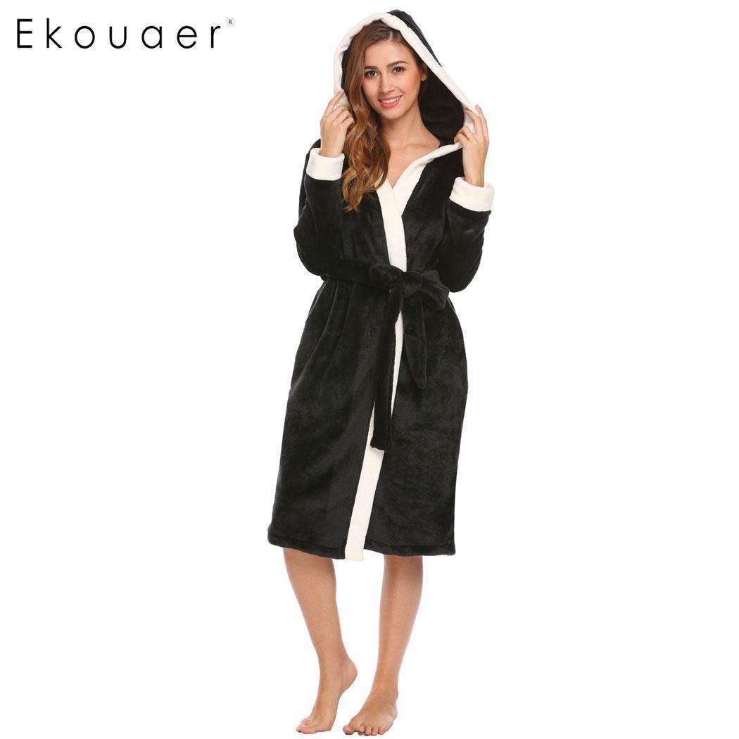 5ec452d333 Ekouaer Hooded Long Kimono Robes Sleepwear Women Soft Plush Long Sleeve  Bathrobe Sleep Robe Dressing Gown Female Homewear-in Robes from Underwear  ...