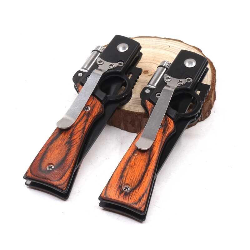 AK47 Modelo Faca Dobrável Faca de Bolso Do Exército 440 Lâmina de Madeira Handle Ferramenta EDC Tático Ao Ar Livre de Acampamento de Sobrevivência Facas Com LED ligh
