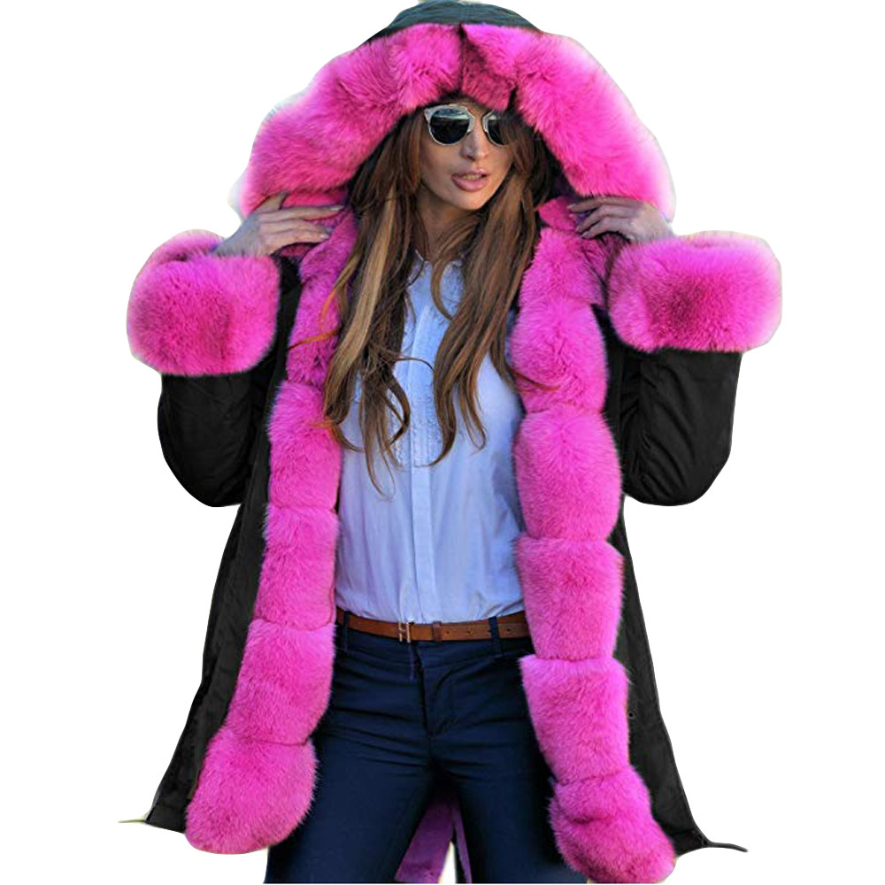 JESPER Womens Winter Faux Fur Jacket Parka Hooded Long Sleeves Shearling Coat Overcoat