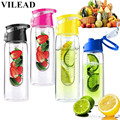 VILEAD 800ML Fashion Flesh Fruit infuser infusing Water Bottle Sports Fitness Health Lemon Juice Make Bottle Cycling Camping Cup