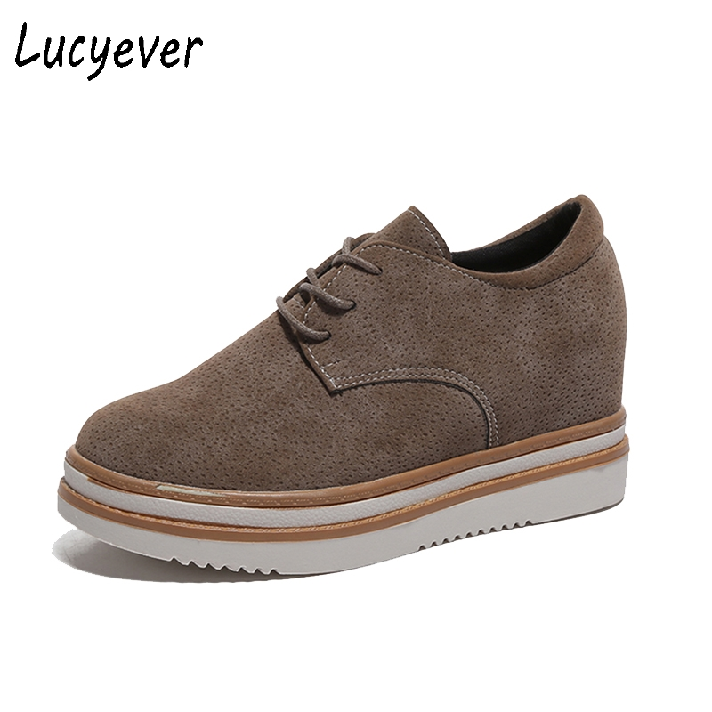 Lucyever Women Flat Platform Shoes PU Leather Brogue Creepers Shoes 2017 Spring Autumn Lace up Round Toe Casual Shoes Woman