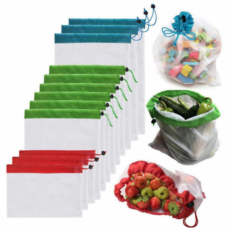 Reusable Polyester Mesh Stitching Vegetable and Fruit Bag Kitchen Fruit And Vegetable Storage Mesh Bag With Drawstring Washable