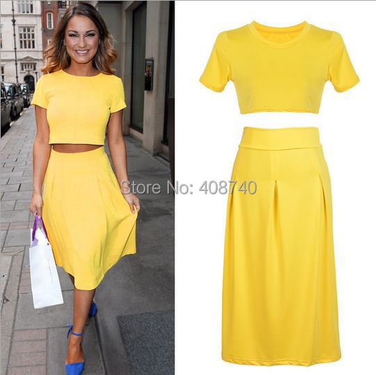 casual women 2 pieces work wear yellow crop top jumper and midi