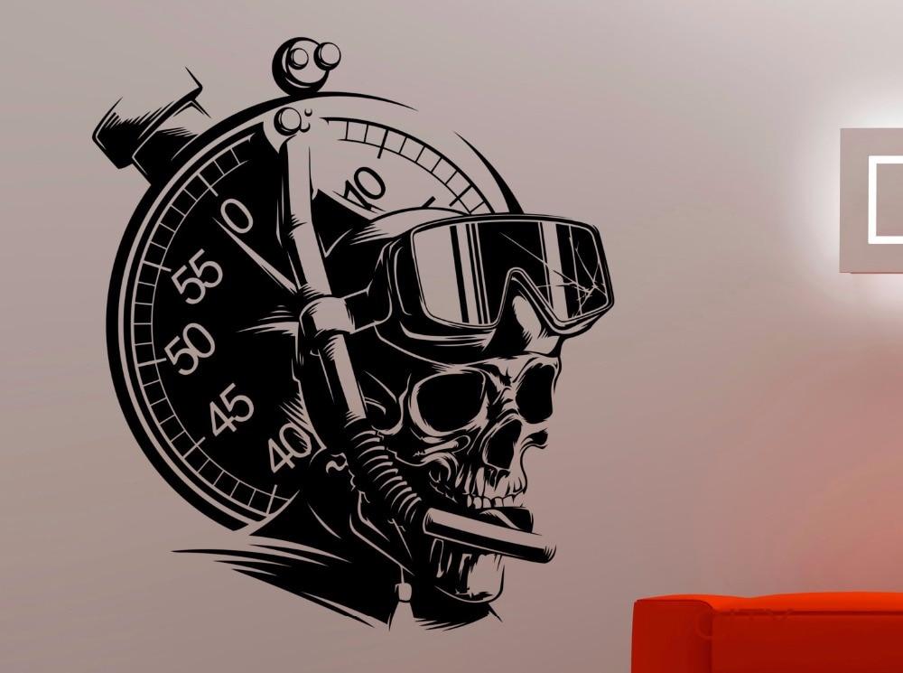 Scuba Diving Wall Sticker Diver Skull Vinyl Decal Home Interior Design Bedroom Bathroom Art Extreme Sports