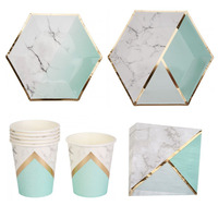 24SET Glitter Gold Marble Paper Plates Napkins Cups Birthday Party Supply Wedding Bridal Shower Disposable Tableware Sets