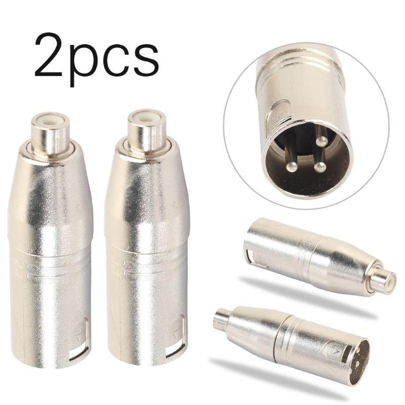 2Pcs Metal Audio Adaptor XLR 3Pin Male To RCA Female Audio Adapter Connector Converter HIFI Supported For Microphone Speaker