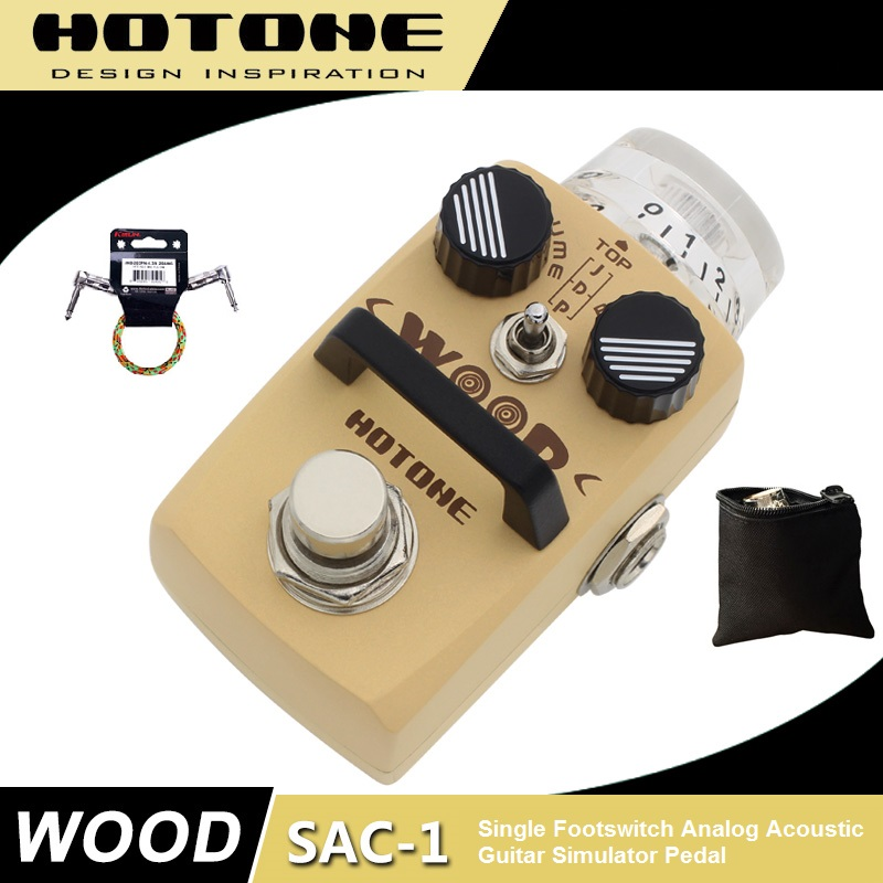 Hotone WOOD Acoustic Guitar Simulator Effect Pedal with Free Pedal Case and More