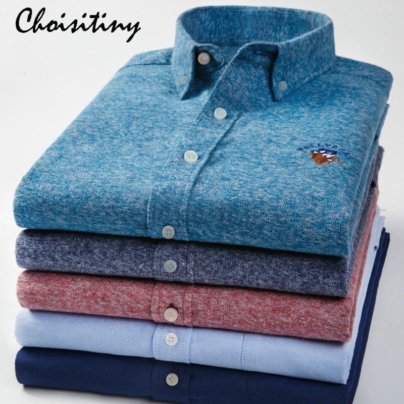 2018 Brand 100% Cotton Plain Shirt Men Spring Casual Shirts Sanding Dress Male Shirt Camisa Masculina Hight Quality
