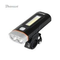 Deemount רכיבה על אופניים קדמי תאורת אופניים פנס קדמי מנורת T6 Cree U2 COB LED לפיד פנס פנימי סוללה סוג USB תשלום