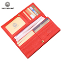 VSTFANGAO 2017 New Fashion Women Wallet Red Hasp Long Genuine Leather Wallets for Women Brand Wallets Lady Purse for Women Gift