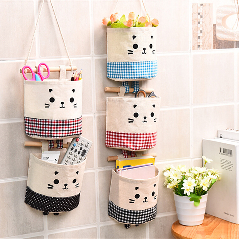 cute cat cotton linen storage bag sundries organizer hanger bag door wall closet hanging pocket. Black Bedroom Furniture Sets. Home Design Ideas