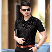 Factory Direct Sales High End Pleuche Breathable Hollow Men Shirt Summer New Arrival Fashion Casual Short