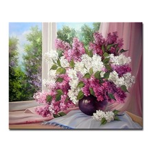 Digital Oil By Numbers Kits DIY Painting On Canvas For Home Decor Drawing Window Purple White Flowers Wall Art Abstract Pictures
