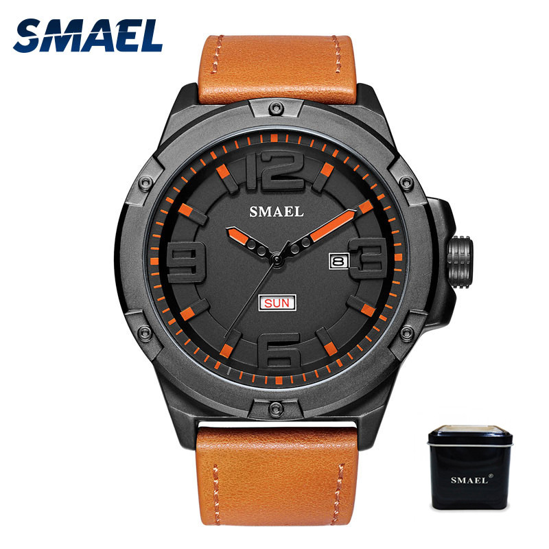 SMAEL Brand Luxury Quartz Watch Men Waterproof Leather Watchband Wristwatches Mens Fashion Big Dial Sport Watches relojes hombre agelocer brown watch a classic timepiece sport dual dial mens casual wristwatches wristwatch free shipping relojes para hombre