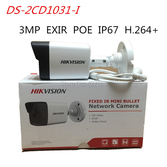 Original English HIKvision IP Surveillance Camera DS-2CD1031-I 3MP Bullet IP Camera with IR 30M H.264 POE CCTV camera micro bullet seurity surveillance bullet ccd camera with headset holder