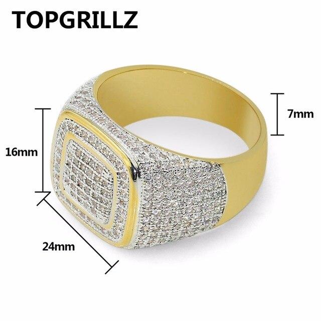 TOPGRILLZ Hip Hop Anello Tutti Fuori Ghiacciato di Alta Qualità Micro pavimenta CZ Anelli di Women & Men Anello In Oro Per Amore, regalo