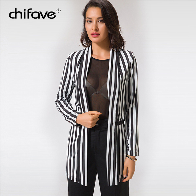 chifave Blazer Women 2018 Black Gray Vertical Striped Jackets Casual Pockets Long Blazer Women's Autumn Jacket Plus Sizes 5XL