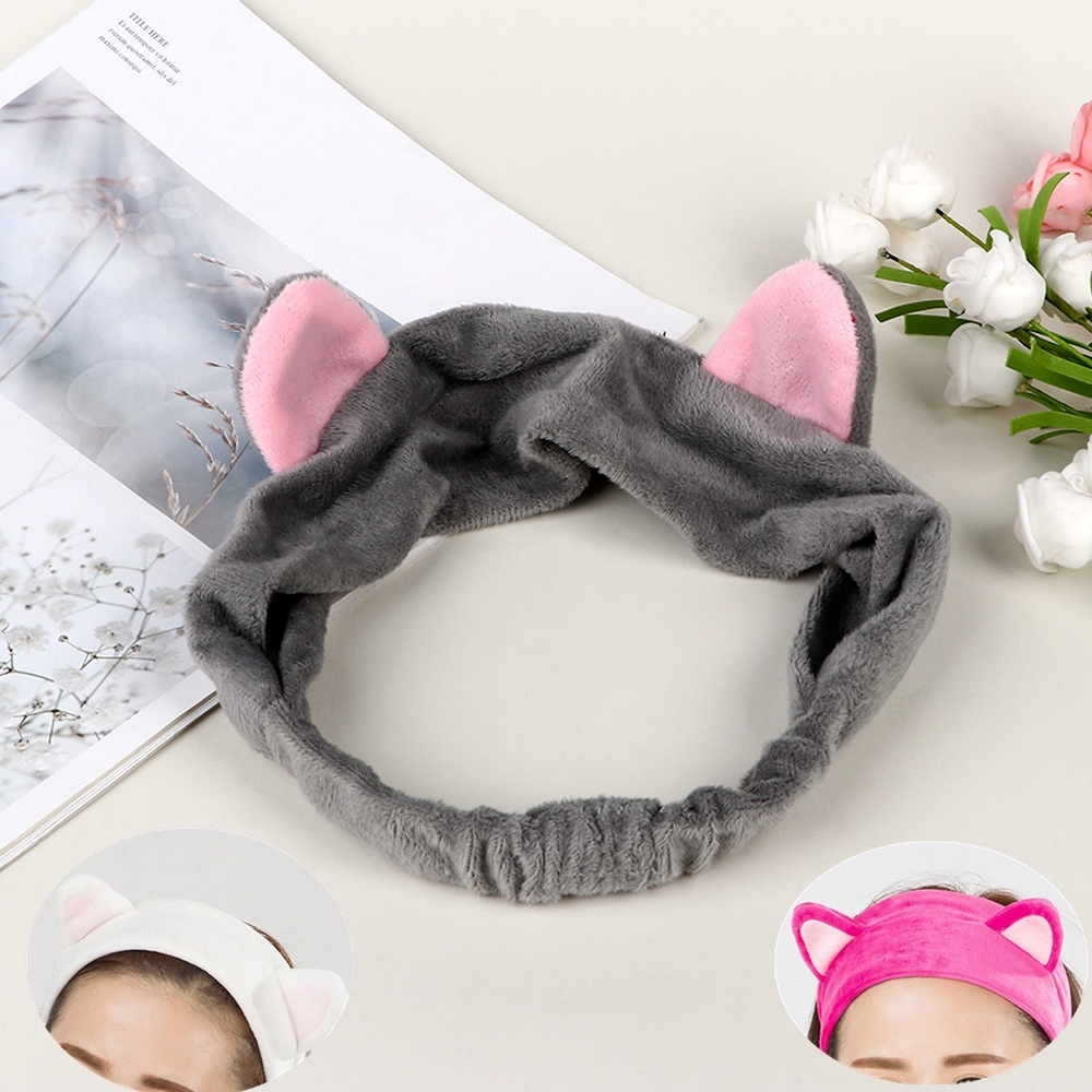 Cute Cat Ears Hair Accessories Makeup Tool Face Cleaing Headband Soft Elastic Multicolor Headdress For Women Girls