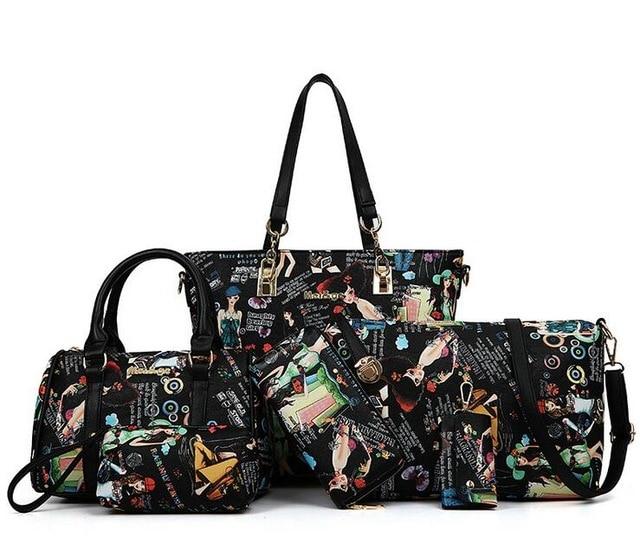 ФОТО 2016 New Brand Printed Leather Bag Vintage Handbag Womens Medium Big Tote Bags Female Crossbody Bags For Women Handbag 6 Sets