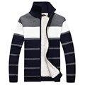 Envío de La Venta Caliente de Los Hombres Suéter 2017 otoño nueva llegada chaqueta de punto a rayas de los hombres de Moda collar del soporte de los hombres suéter 70hfx