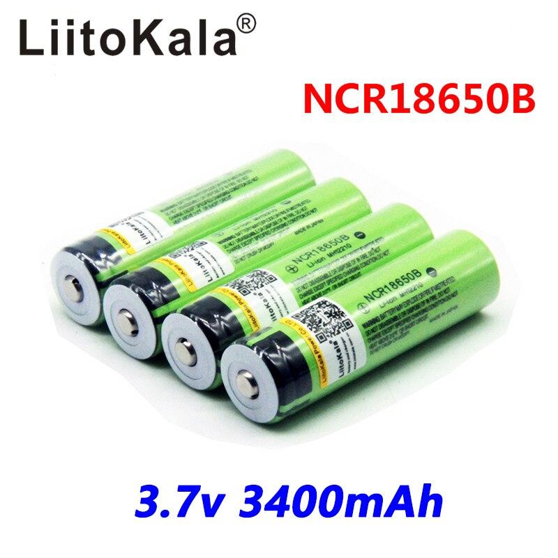 2017 Original LiitoKala 18650 3400mAh battery 3.7V Li-ion Rechargebale battery NO PCB Protected For panasonic 18650B18650 3400