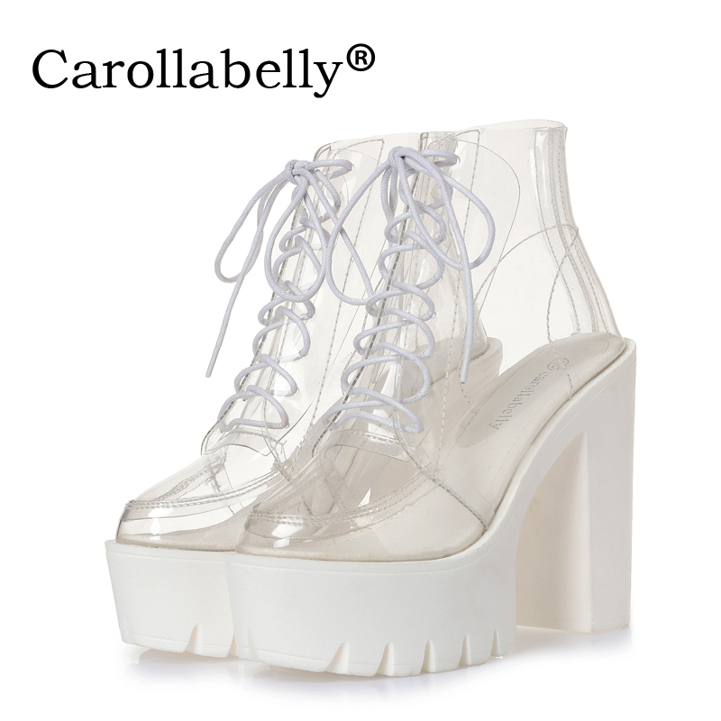 thick heels women summer boots transparent ankle boots women lace up platform super high heels ladies nightclub women shoes asumer 2017 new high heels wedge boots lace up sexy cut out mesh platform boots women elegant thick sole summer ankle boots