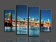 4 Pcs/Set Large Landscape City Bridge Canvas Print Painting Modern Still Life Wall Art Picture Home Decor HX-46