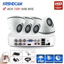 720P 4CH AHD camera cctv system mini 720p/1080N video recorder AHD-M 1.0mp indoor dome camera System surveillance night Vision