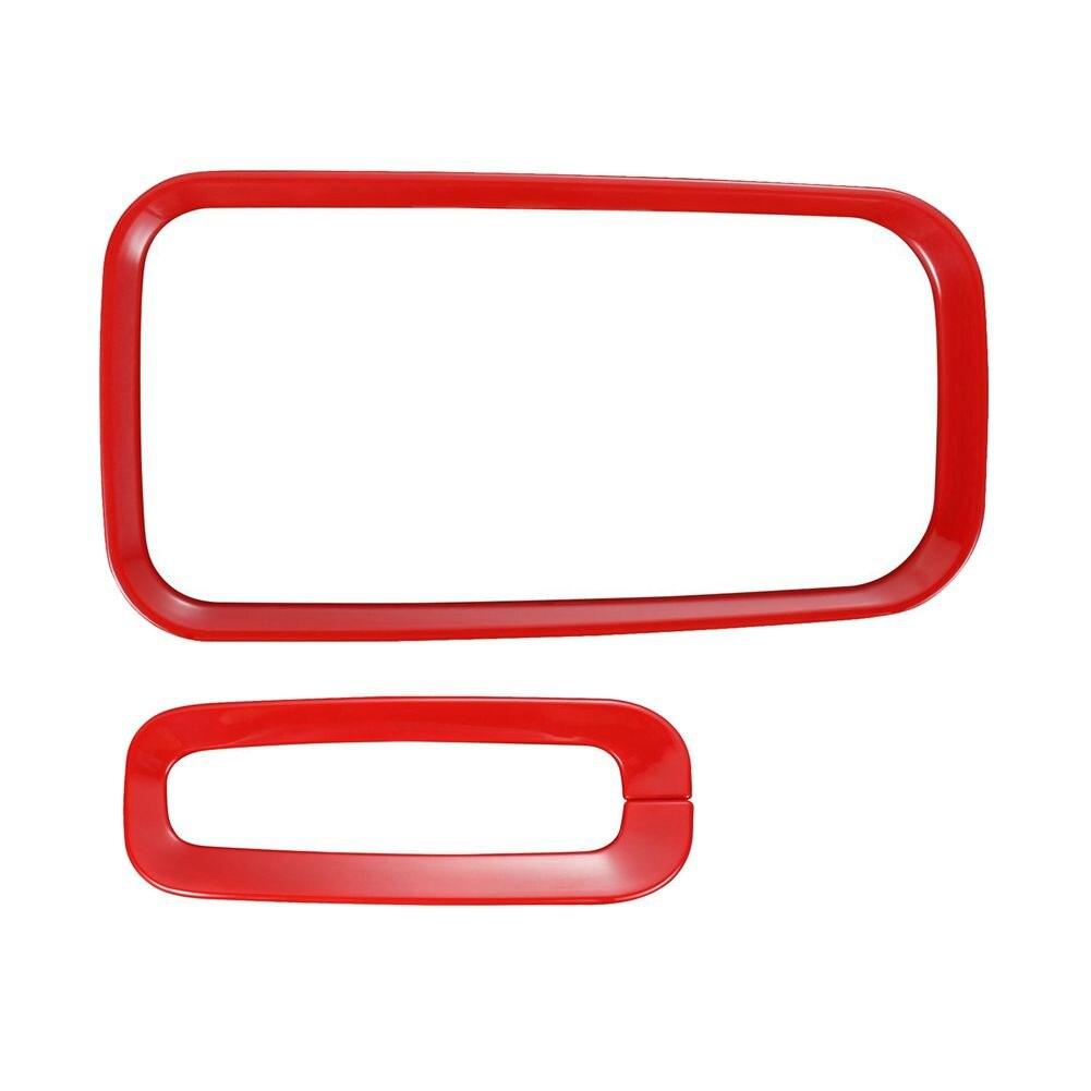 2x Red <font><b>Gear</b></font> <font><b>Shift</b></font> Knobs Decorative rim Trim for 2011-2017 Jeep <font><b>Wrangler</b></font> JK & JKU