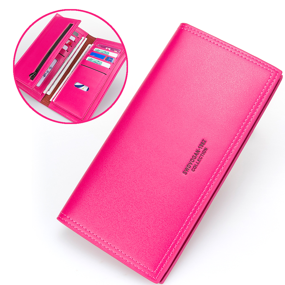New Bifold Long Wallet Women Leather Wallet Card Holder Money Wallet for Girls Rose Red Zipper Purse Portable Female Wallet new brand colors purse plaid leather zipper wallet cards holder wallet for girls women wallet