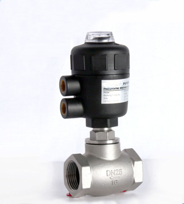 1/2 2/2 way pneumatic globe control valve angle seat valve normally closed 40mm PA actuator globe valve 2 way nc 1 1 2 in f npt