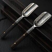SIBAOLU 1 Pc Stainless Steel Damascus Puer Tea Scoops Steel Tea Spoon Pattern Wood Handle Teaspoon Puerh Cake Tea Accessories