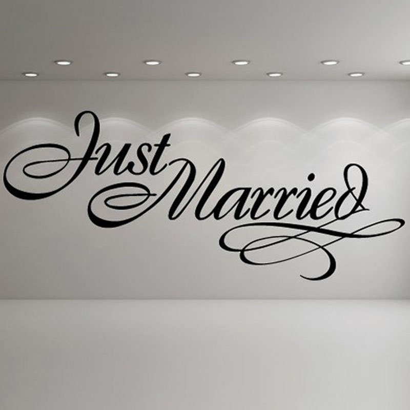 Just Married Quotes Mesmerizing Just Married Elegant Sign Wedding Wall Stickers Occasion Decor Art