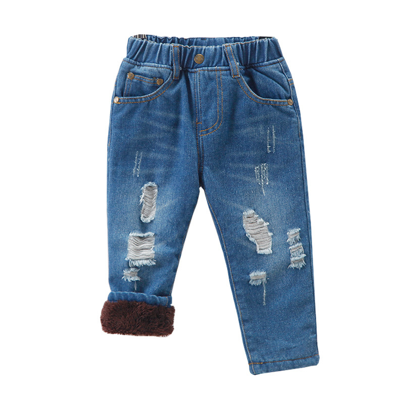 Autumn Winter Child Boys Denims Pants Thicken Youngsters Boy Trousers Informal Heat Elastic Pants Woman Backside Youngsters Clothes Denim 1-6Y