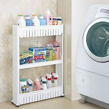 Pratical White 3 Tier Slide Out Hollow Storage Tower in Bathroom With Wheels Home Kitchen Shelf Useful Organizer Save Space