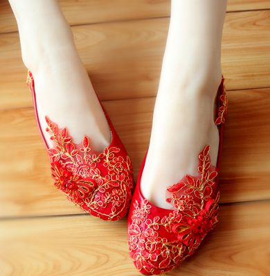ФОТО 2017 Spring brand new coming red color lace flats for women party wedding proms shoes, 100% delicate handmade dance flats TG137