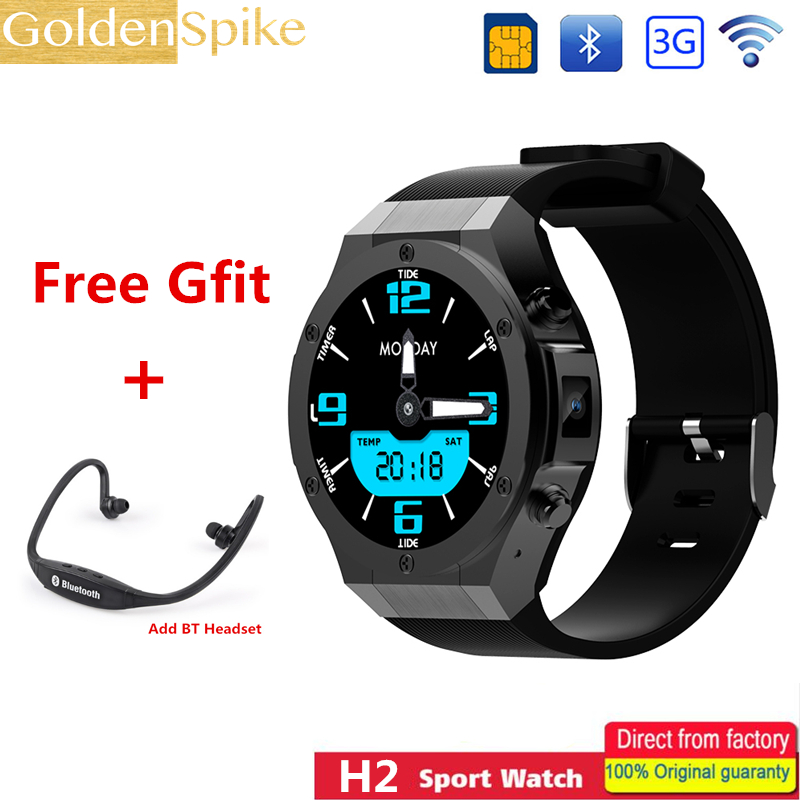Original H2 Smart Watch 1.4 Inch MTK6580 Quad Core 1.3GHZ Android 5.1 3G Smart Watch 480mAh 5.0 Mega Pixel Heart Rate Monitor goldenspike i3 smart watch 1 5 inch mtk6580 quad core 1 3ghz android 5 1 3g smart watch 500mah 2 0 mega pixel heart rate monitor