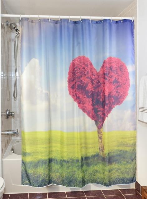 3D Coeur Amour Arbre Rideaux De Douche Étanche Salle De Bains Rideaux  Polyester Tissu De Bain