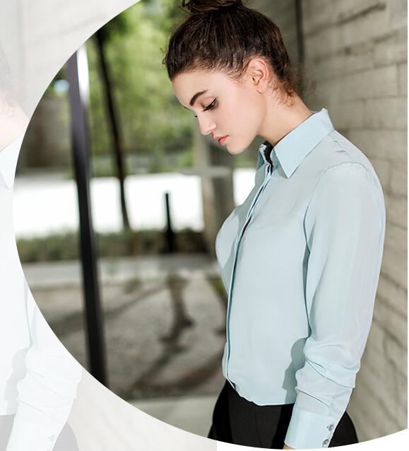 جودة 100% الحرير الخالص الصلبة اللون الأساسي طوق قميص بلوزة L XL 2XL YS001-في بلوزات وقمصان من ملابس نسائية على  مجموعة 2