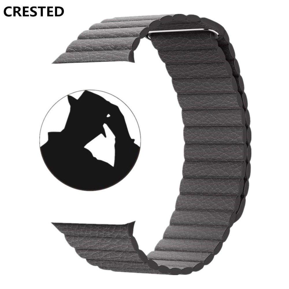 CRESTED Leather Loop For Apple Watch band strap 42mm/38mm iwatch series 4 3 2 1 wrist bands bracelet belt watchband straps crested crazy horse strap for apple watch band 42mm 38mm iwatch series 3 2 1 leather straps wrist bands watchband bracelet belt