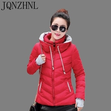JQNZHNL 2017 Latest Winter Fashion Hooded gloves Large size Women Cotton Coat Pure color Loose Elegant Female Cotton Coat AA198