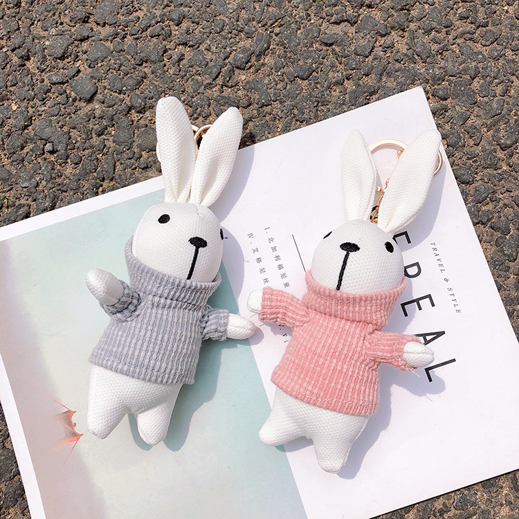 Big Size Cute Pluff Bunny Keychain Rex Faux Rabbit Fur Pompom Key Chain For Women Bag Pendant Car Fluffy Fur Pom Pom Doll