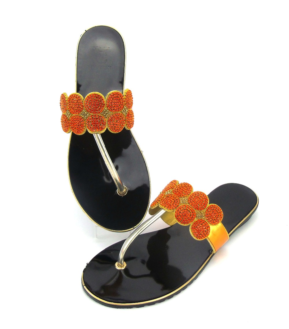 doershow New arrival colorful rhinestones design ladies pumps African sandal shoes for party size 37-43  ABS1-18 doershow new coming purple design african sandal shoes with shinning stones for fashion lady free shipping jk1 36
